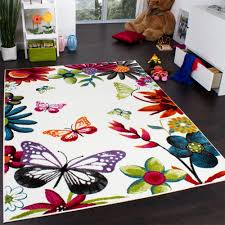 tapis chambre d enfant tapis chambre d enfant papillons multicolore crème orange vert