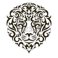Lion Tattoo Illustration Isolated On White Background EPS 10 Vector