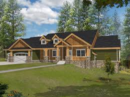Rustic Craftsman Style Ranch House With Stone Accents