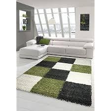 shaggy teppich hochflor langflor teppich wohnzimmer teppich gemustert in karo design grün grau beige größe 120x170 cm