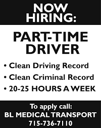 Part-time Driver, BL Medical Transport Heres What Its Like To Be A Woman Truck Driver Hours Of Service Wikipedia Driving Jobs Vs With Uber Driver Job In Dubai How Truck Driver Detention Pay Dat Heartland Express Drivejbhuntcom Company And Ipdent Contractor Job Search At Selfdriving Trucks Are Going Hit Us Like Humandriven Parttime Drivers Namekagon Transit Hayward Wi Salaries For Fedex Reimer Bros Trucking Ltd Armstrong Bc Drivers Wanted Trucking Jobs