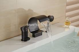 Brushed Bronze Bathtub Faucets by Large C Curved Waterfall Oil Rubbed Bronze Bathtub Faucet W Hand