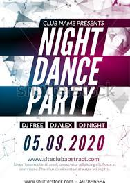 Night Dance Party Design Template In Polygonal Style Club Event DJ Music