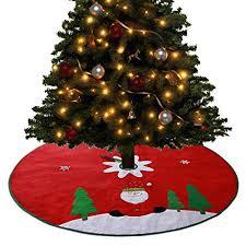 Tocode Christmas Tree Skirt Red Large 48 Inch Xmas Skirts Santa Claus Pattern