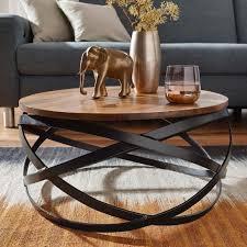 wohnling couchtisch manur 60x30x60 cm sheesham massivholz metall sofatisch design wohnzimmertisch rund stubentisch industrial braun designer