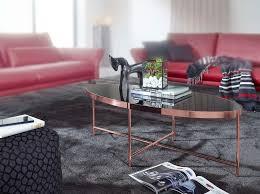 wohnling design couchtisch oval 110 x 56 cm spiegel glas wohnzimmertisch mit metallgestell in kupfer glastisch wohnzimmer