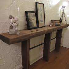 Rustic Industrial Reclaimed Wood Pipe Console Table Living Room
