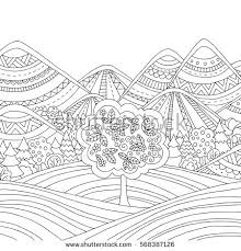 Printable Coloring Page For Adults With Mountain Landscape Forest Trees Clouds Hand