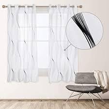 deconovo rideau voilage 2er set vorhang transparent gardinen schals leinenoptik wohnzimmer schlafzimmer ösenvorhang modern polyester weiß schwarze