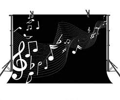 Music Photography Backdrop Classic Black And White Background For Children Art Studio Photo Booth Or
