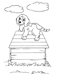Dogs Puppy Dog Climb Up A House Coloring Page