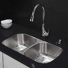 33x22 Stainless Steel Kitchen Sink Undermount by Kraus Kbu22 32 Inch Undermount 50 50 Double Bowl 16 Gauge