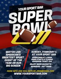 Football Sports Poster Template Super Bowl 2018 Flyer