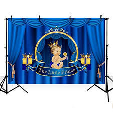 MEHOFOTO Little Prince Baby Shower Photo Studio Booth Background Blue Curtain Birthday Polyester Backdrops For Photography
