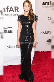 Evening Dresses Red Carpet by Daniela Lopez Osorio Amfar 2016 Black Sequin Red Carpet Long