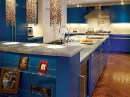 glamorous blue kitchen ideas with cabinet lighting and marble