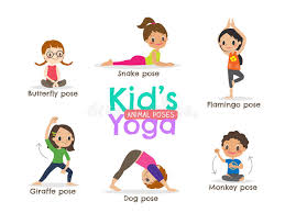 Download Yoga Kids Poses Vector Illustration Stock
