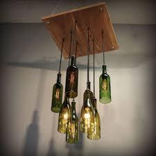 Repurposed Wine Bottle Pendant Chandelier Wood Frame Hanging Lamp Upcycled Light