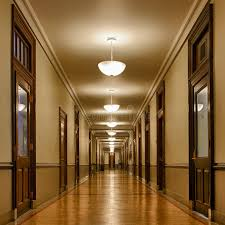 Download Long Hallway Of Classrooms Stock Image Office