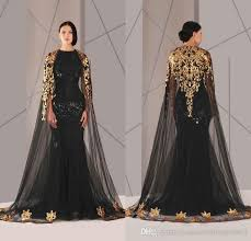 Hot Sale 2016 Arabic Formal Pageant Evening Dresses With Cloak Gold Lace Plus Size Black Sequined Vestidos De Novia Prom Occasion Gown Cheap Elegant