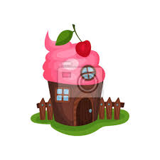 Fototapete Small Fancy House In Shape Of Cupcake Or Ice Cream Home With Wooden