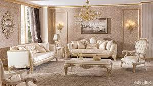 klassisch luxuriöses wohnzimmer sofa set saphire 1 tisch