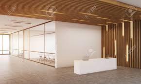 100 Wooden Ceiling Reception Room Corner With Two Offices With Glass Wall In Background