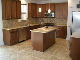 Kitchen Cream Big And Small Tile Floor Plus Brown Wooden Island Cabinets
