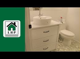 Ikea Hack Vessel Sink by Ikea Dresser To Bathroom Vanity Diy Hack Lhp Youtube