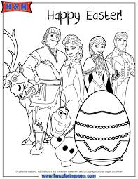 All Frozen Characters Say Happy Easter Coloring Page