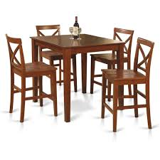 5pc Counter Height Pub Set 36x36 Table + 4 Bar Stool Wood Chairs In ...