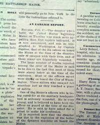 Sinking Of The Uss Maine Newspaper by Sinking Of The U S S Maine Rarenewspapers Com
