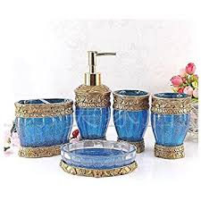 Teal Color Bathroom Decor by Amazon Com Savannah 4 Piece Bathroom Set Color Turquoise Home