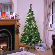 Large 6ft Pre Lit Bright White LED Pine Christmas Tree Green Xmas Lights UK
