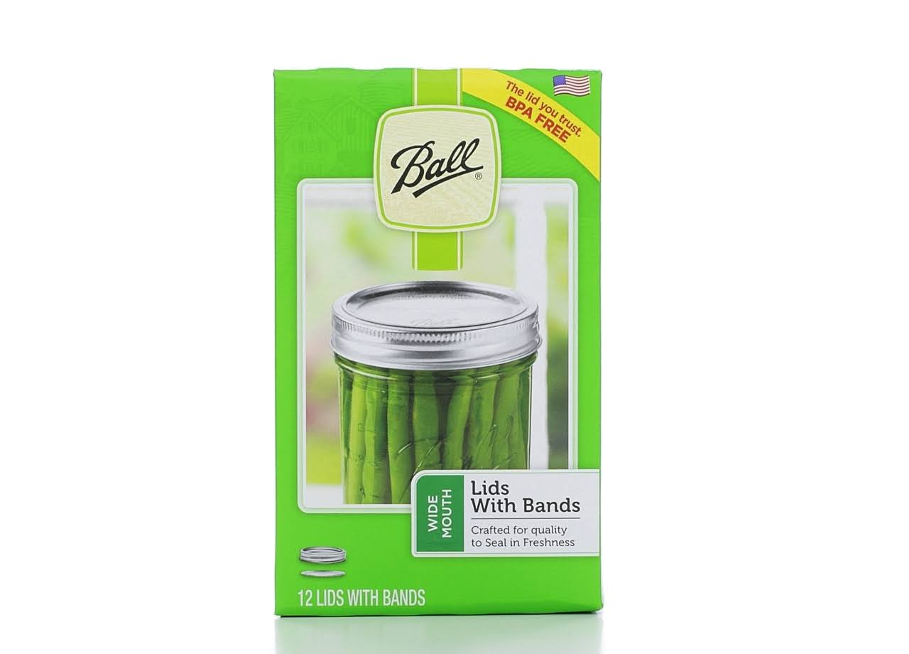 Ball Wide Mouth Lids with Bands - 12 Pack
