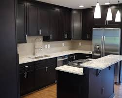 Wonderful Kitchen Design Ideas Dark Cabinets Modern Small With Nice Pendant Lamp And L Shaped Cabinet For