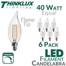 40 watt equal led filament candelabra light bulb c11 earthled