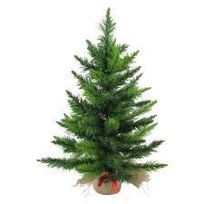 24 Mini Balsam Pine Green Artificial Christmas Tree In Burlap Base