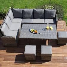 maze rattan corner sofa set grey white stores