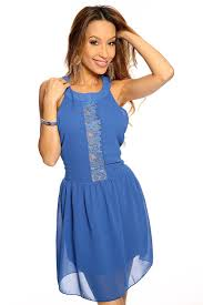 royal blue floral netted sleeveless casual cute short dress