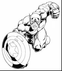 Impressive Marvel Captain America Coloring Pages With Superhero And For Kindergarten