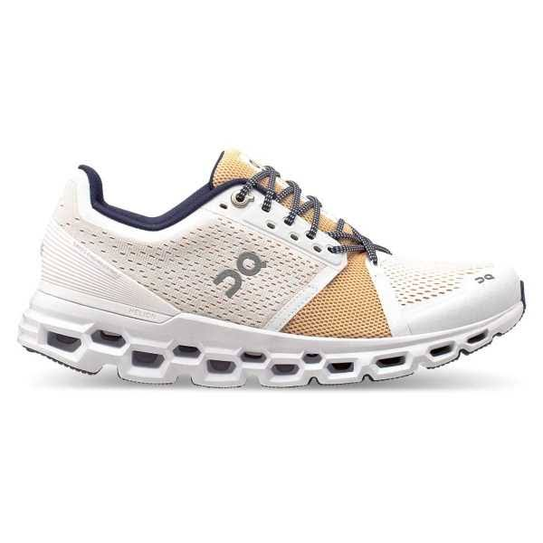 on Cloudstratus Running Shoe Women's, White/Almond, 8