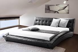 Genuine leather super king size bed frame 6 ft black slats