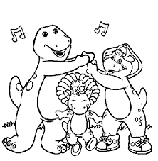 Free Printable Barney Coloring Pages Sheets And Book Pictures Baby Bop BJ Too Many Other Kids