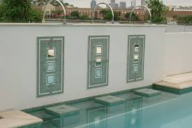 Tile Wall Art Pool Water Feature Mosaic Bulimba Queensland Brannelly Outdoor Living Designs
