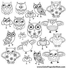 Set Of Eighty Funny Owls Black Vector Contour Isolated On White Background