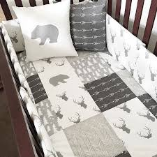Woodland Nursery Bedding In Gray And White With Bears Arrows Deer Love For A Boy Or Mountain This Fabric Over Stools Kids To