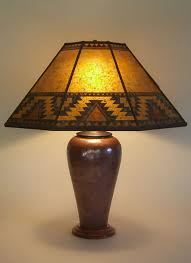 Mica Lamp Shade Replacement by Large Copper Table Lamp