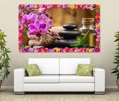 3d wandtattoo wellness feng shui orchidee steine blumen rahmen wandbild wohnzimmer wand aufkleber 11l1456 wandtattoos und leinwandbilder