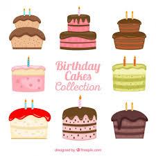 Hand drawn variety of birthday cakes
